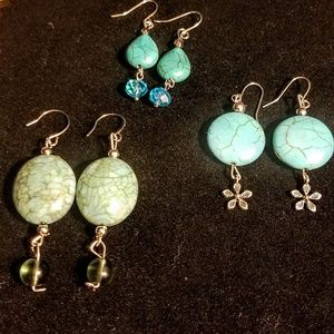 Jewelry - 3 pair turquoise colored earrings.